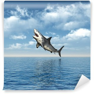 Wall Mural - Vinyl Great White Shark Jumping