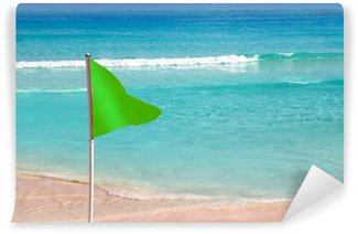 Wall Mural - Vinyl Green beach flag good beach weather