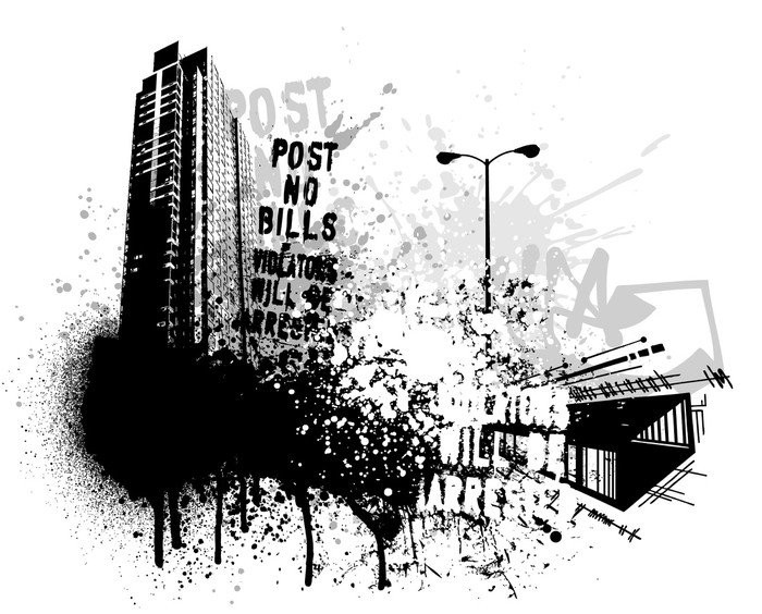 Wall Mural - Vinyl Grunge city design - Wall decals