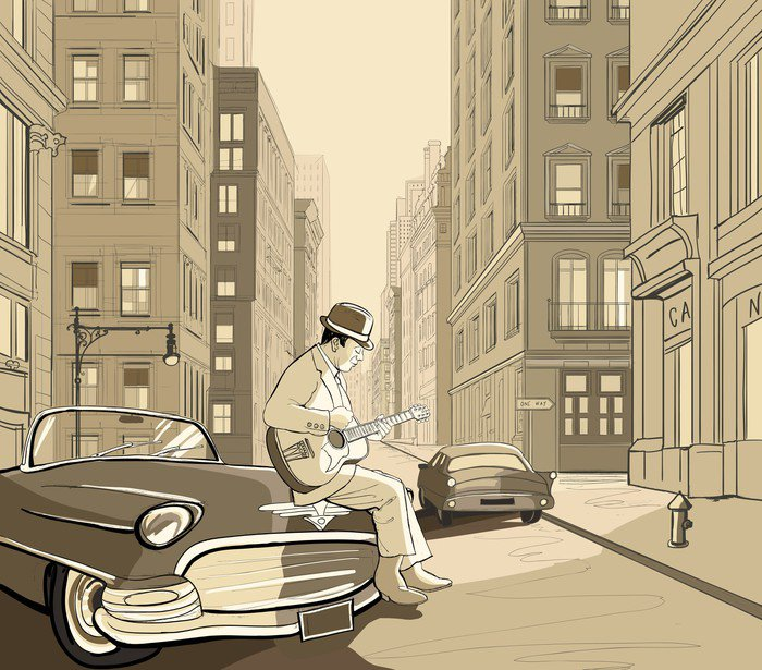 Vinyl Wall Mural guitarist in an old street of New york - Jazz