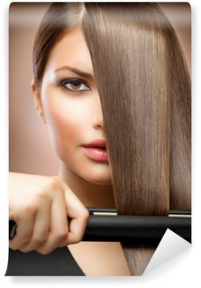 Wall Mural - Vinyl Hairstyling.Hairdressing.Hair Straightening Irons.Straight Hair