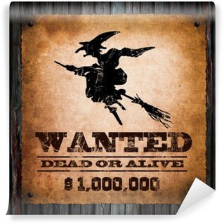 Wall Mural - Vinyl Halloween background- wanted witch