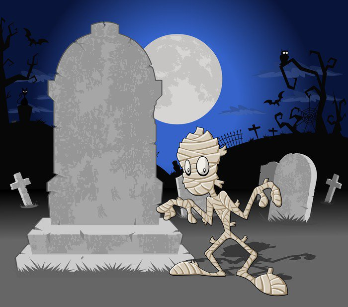 wall mural vinyl halloween cemetery background with tombs and funny cartoon mummy international celebrations - Halloween Wall Mural