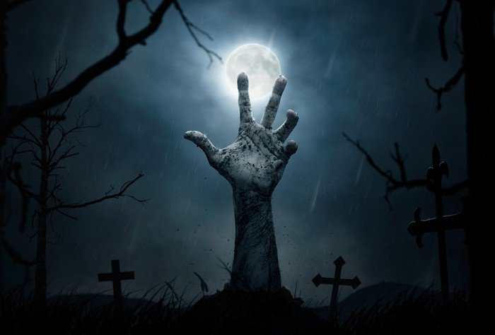 wall mural vinyl halloween dead hand coming out from the soil themes - Halloween Wall Mural