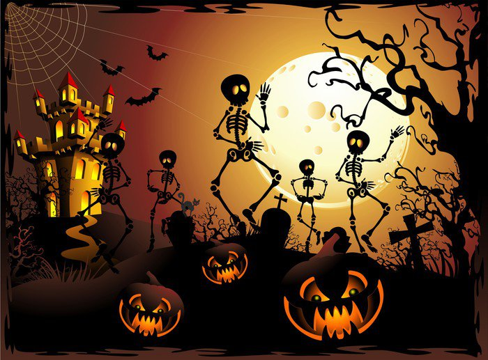 wall mural vinyl halloween scheletri e castello halloween skeleton and castle international celebrations - Halloween Wall Mural