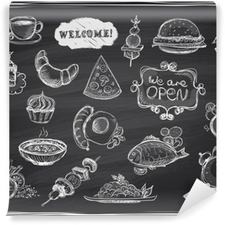 Hand drawn assorted food and drinks graphic. Wall Mural - Vinyl