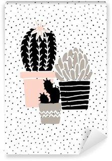 Hand Drawn Cactus Poster Vinyl Wall Mural