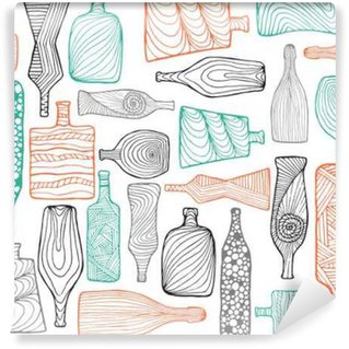 Wall Mural - Vinyl Hand drawn colorful seamless doodle pattern with different bottles.