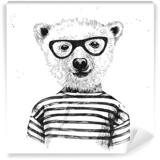 Hand drawn Illustration of dressed up hipster bear Wall Mural - Vinyl