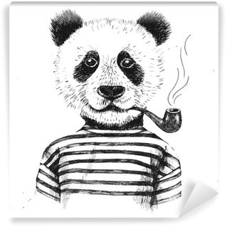 Hand drawn Illustration of hipster panda