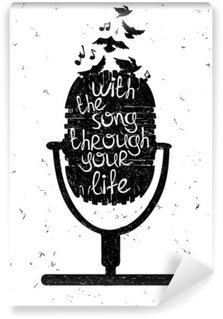 Hand drawn musical illustration with silhouette of microphone. Wall Mural - Vinyl