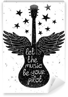 Hand drawn musical illustration with silhouettes of guitar. Wall Mural - Vinyl