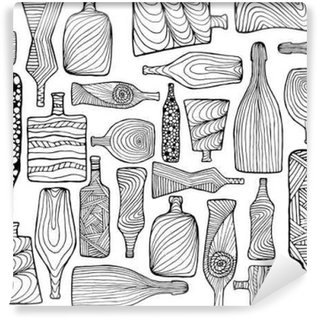 Hand drawn seamless doodle pattern with different bottles. Black ornament.Hand drawn seamless doodle pattern with different bottles. Black ornament.