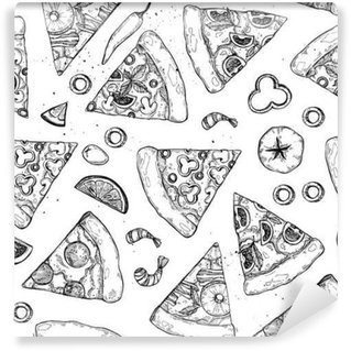 Hand drawn vector illustration - pizza. Types of pizza: Pepperoni, Margherita, Hawaiian, Mushroom. Sketch style