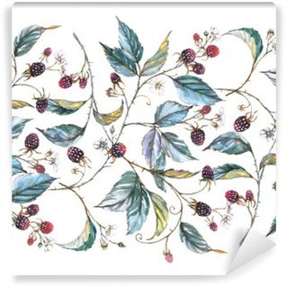 Hand-drawn watercolor seamless ornament with natural motives: blackberry branches, leaves and berries. Repeated decorative illustration, border with berries and leaves Wall Mural - Vinyl