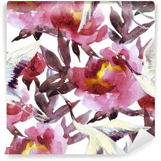 Hand painted watercolor peonies and crane birds Wall Mural - Vinyl
