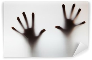 Wall Mural - Vinyl Hands touching frosted glass. Conceptual scream for help