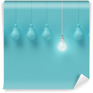 Wall Mural - Vinyl Hanging light bulbs with glowing one different idea on light blue background , Minimal concept idea , flat lay , top