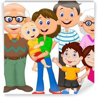 Wall Mural - Vinyl Happy cartoon family