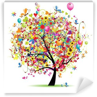 Wall Mural - Vinyl Happy holiday, funny tree with balloons