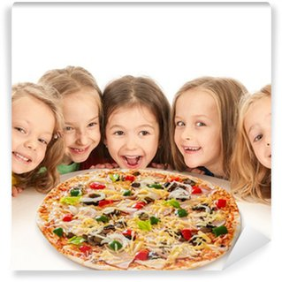 Happy kids with big pizza Wall Mural - Vinyl
