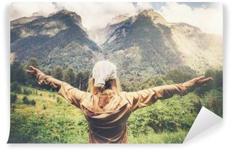 Wall Mural - Vinyl Happy Woman Traveler hands raised enjoying mountains landscape Travel Lifestyle concept harmony with nature summer vacations