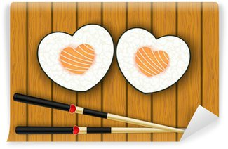 Wall Mural - Vinyl Heart-shaped sushi and chopsticks