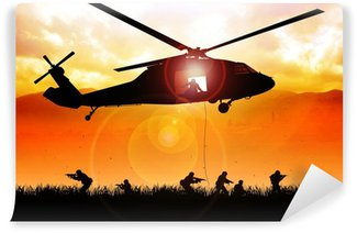 Vinyl Wall Mural Helicopter is dropping the troops