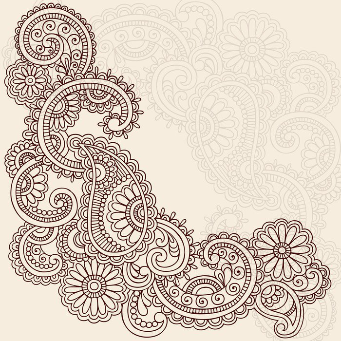Henna abstract doodle mehndi tattoo vector design wall for Mural vector