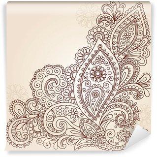 Wall Mural - Vinyl Henna Mehndi Paisley Flower Doodle Vector Design