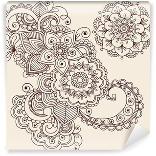 Henna Tattoo Abstract Paisley Flower Doodles Vector Wall Mural - Vinyl