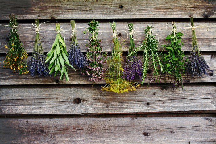 Herbs Drying On The Wooden Barn In The Garden Vinyl Wall