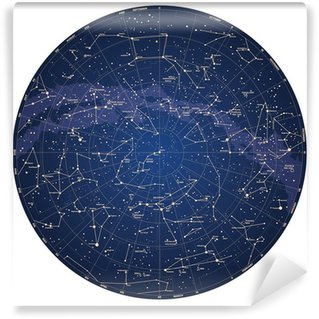 High detailed sky map of Northern hemisphere with names Wall Mural - Vinyl