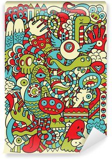 Hipster Doodle Monster Collage Background Wall Mural - Vinyl