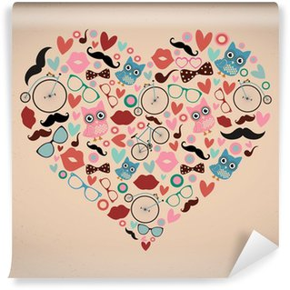 Hipster Doodles Set in Heart Shape Wall Mural - Vinyl