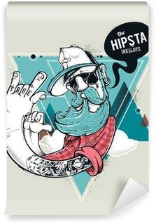 Hipster graffiti character Wall Mural - Vinyl