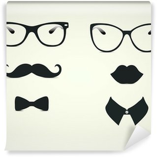 Hipster Lady and Gentleman Icohs Wall Mural - Vinyl