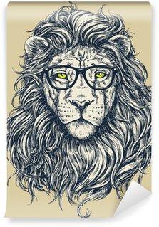 Hipster lion vector illustration. Glasses separated. Wall Mural - Vinyl