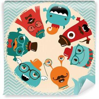 Hipster Retro Monsters Card Design Wall Mural - Vinyl