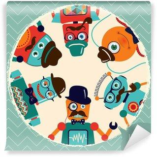 Hipster Retro Robots Card Illustration, Banner, Background Wall Mural - Vinyl