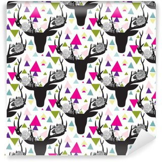 Hipster seamless pattern with triangle, deer horns Wall Mural - Vinyl