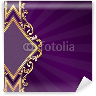 Horizontal diamond-shaped purple banner with gold filigree