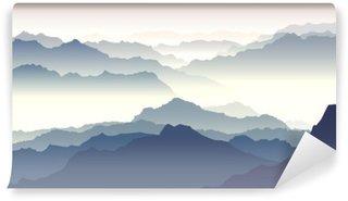 Horizontal illustration of twilight in mountains.