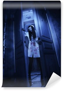 Wall Mural - Vinyl Horror movie. Crazy dead nurse