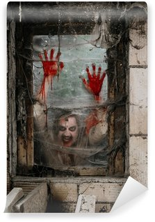 Wall Mural - Vinyl Hungry zombie at the window