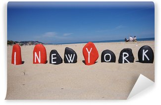 Wall Mural - Vinyl I love New York with beach background