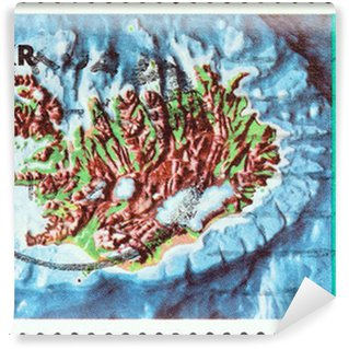 Iceland contour map and continental shelf (Iceland 1972) Wall Mural - Vinyl