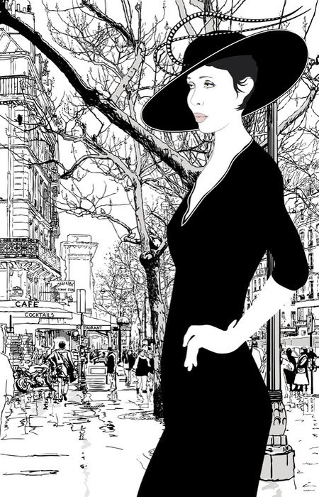 Wall Mural - Vinyl illustration of an elegant lady in Paris - Themes