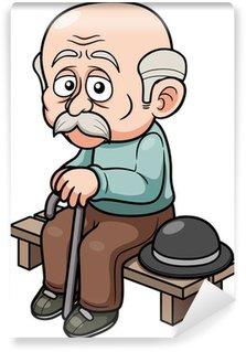 Wall Mural - Vinyl illustration of Cartoon Old man sitting bench