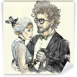 Wall Mural - Vinyl Image of classical dance - young pair of lovers dancing.